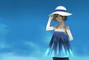 Rating: Safe Score: 44 Tags: blue blue_eyes brown_hair hat kyouichi original short_hair sky summer User: STORM