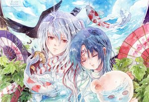 Rating: Safe Score: 3 Tags: animal bird blue_hair fish gray_hair red_eyes sword tagme_(artist) tattoo watermark weapon wet User: BattlequeenYume