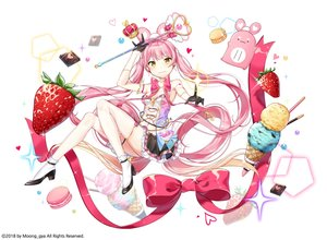 Rating: Safe Score: 39 Tags: bow breasts chocolate cleavage elbow_gloves food fruit garter gloves heart ice_cream long_hair moong_gya navel original pink_hair pocky ribbons skirt socks strawberry thighhighs twintails wand watermark yellow_eyes User: otaku_emmy