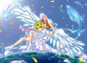 Rating: Safe Score: 12 Tags: animal blonde_hair blue blue_eyes dolphin dress flowers hat kurotsugumi_renki petals short_hair sky sunflower water wings User: HawthorneKitty