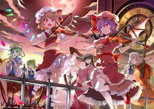 Rating: Safe Score: 46 Tags: black_hair blonde_hair blue_eyes bow braids clouds daiyousei emerane flandre_scarlet green_eyes green_hair group hat headdress houraisan_kaguya instrument izayoi_sakuya kneehighs long_hair maid moon navel orange_eyes petals pink_eyes remilia_scarlet shikieiki_yamaxanadu short_hair skirt sky thighhighs touhou violin waifu2x wings wink User: RyuZU