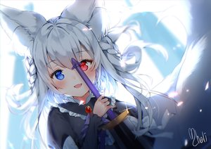 Rating: Safe Score: 61 Tags: animal_ears bicolored_eyes blush braids cheli_(kso1564) close foxgirl goth-loli gray_hair lolita_fashion long_hair multiple_tails original sword tail weapon User: otaku_emmy