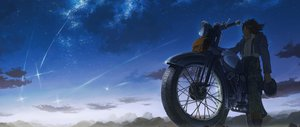 Rating: Safe Score: 97 Tags: choker clouds hatsuga_(dmaigmai) jpeg_artifacts motorcycle night original scenic short_hair sky stars User: FormX