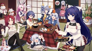 Rating: Safe Score: 74 Tags: animal_ears aqua_eyes bell blue_eyes blue_hair blush bow bronya_zaychik dress drink earmuffs fan food fruit fu_hua game_console glasses gray_eyes gray_hair honkai_impact kallen_kaslana kiana_kaslana long_hair murata_himeko necklace orange_(fruit) pantyhose phone pink_hair raiden_mei red_hair sake sharlorc short_hair skirt theresa_apocalypse thighhighs twintails wink yae_sakura_(benghuai_xueyuan) yellow_eyes User: RyuZU