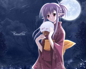 Rating: Safe Score: 44 Tags: elf japanese_clothes moon nerine shuffle sky stars suzuhira_hiro User: Tensa