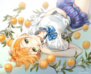 Rating: Safe Score: 50 Tags: ancotaku bow flowers food fruit green_eyes hoshizora_rin leaves love_live!_school_idol_project orange_(fruit) orange_hair school_uniform short_hair signed skirt User: otaku_emmy