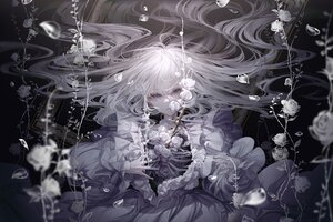 Rating: Safe Score: 39 Tags: blue_eyes bones dress flowers long_hair open_shirt original petals polychromatic underwater water white_hair yoggi_(stretchmen) User: Dreista