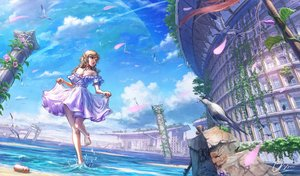 Rating: Safe Score: 62 Tags: animal aqua_eyes barefoot bird blonde_hair braids breasts building cleavage clouds dress long_hair original ruins shiki_makoto skirt_lift sky water User: RyuZU