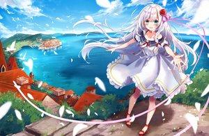 Rating: Safe Score: 68 Tags: blush building city clouds dress green_eyes kisaragi_yuri long_hair original sky water white_hair User: RyuZU