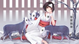 Rating: Safe Score: 59 Tags: animal brown_eyes brown_hair headdress japanese_clothes jpeg_artifacts kimono .l.l noragami nora_(noragami) short_hair snow tree wolf User: Flandre93