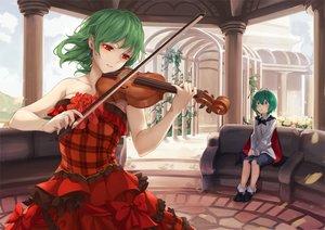 Rating: Safe Score: 79 Tags: 2girls asutora blush bow cape couch dress green_eyes green_hair instrument kazami_yuuka red_eyes short_hair socks touhou violin wriggle_nightbug User: otaku_emmy