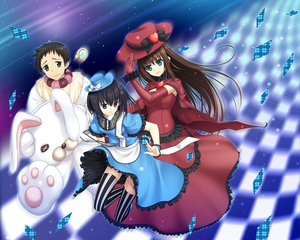 Rating: Safe Score: 26 Tags: 33paradox aozaki_aoko dress kuonji_alice mahou_tsukai_no_yoru shizuki_soujuurou thighhighs User: Wiresetc