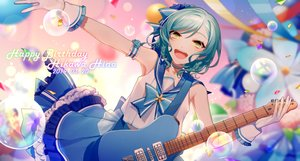 Rating: Safe Score: 41 Tags: asd13 bang_dream! blush bow braids bubbles choker gloves green_eyes green_hair guitar hikawa_hina instrument seifuku short_hair skirt User: otaku_emmy