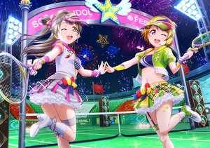 Rating: Safe Score: 29 Tags: 2girls boots bow brown_hair fireworks headphones koizumi_hanayo long_hair love_live!_school_idol_project microphone minami_kotori navel orange_eyes pink_eyes skirt sky sport tagme_(artist) tennis wink User: RyuZU