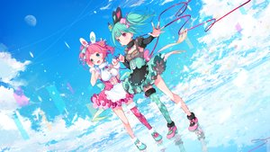 Rating: Safe Score: 31 Tags: 2girls animal_ears aqua_eyes aqua_hair blush bow bunny_ears choco_maca_channel choco_(vtuber) clouds headband lolita_fashion macaron_(vtuber) pink_eyes pink_hair pompier reflection sky thighhighs User: BattlequeenYume