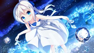 Rating: Safe Score: 57 Tags: aqua_eyes blush chinomaron dress gochuumon_wa_usagi_desu_ka? kafuu_chino loli long_hair ponytail reflection water white_hair User: あかり