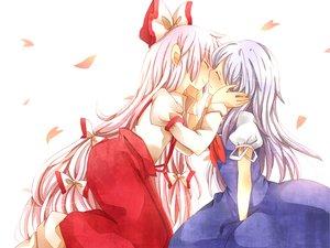 Rating: Safe Score: 44 Tags: fujiwara_no_mokou kamishirasawa_keine long_hair pink_hair ribbons shoujo_ai touhou white_hair User: HawthorneKitty