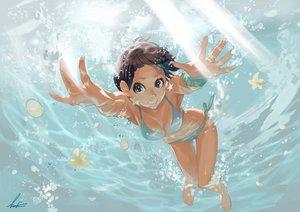 Rating: Safe Score: 184 Tags: barefoot bikini black_eyes brown_hair flowers short_hair swimsuit temoshi underwater water User: lilmetal