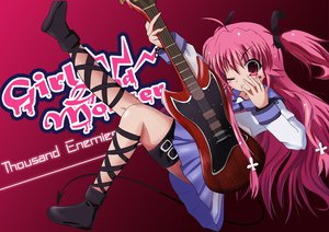 Rating: Safe Score: 26 Tags: angel_beats! guitar instrument long_hair pink_eyes pink_hair ribbons skirt tail tattoo twintails yui_(angel_beats!) User: Tensa