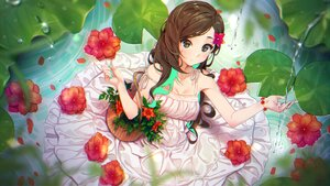 Rating: Safe Score: 35 Tags: agnamore blush breasts brown_eyes brown_hair cleavage dress flowers leaves long_hair original summer_dress waifu2x water wristwear User: otaku_emmy