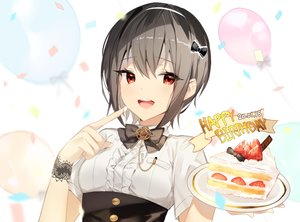 Rating: Safe Score: 34 Tags: black_hair blush bow cake food fruit original red_eyes short_hair strawberry wristwear yuhi_(hssh_6) User: RyuZU