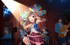Rating: Safe Score: 4 Tags: annin_doufu boots brown_eyes brown_hair choker drums group guitar idolmaster idolmaster_cinderella_girls idolmaster_cinderella_girls_starlight_stage instrument microphone piano ribbons seifuku short_hair skirt wakiyama_tamami wink wristwear User: luckyluna