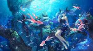 Rating: Safe Score: 83 Tags: animal barefoot blue bubbles deep-sea_girl_(vocaloid) dress fish hatsune_miku long_hair twintails underwater vocaloid water zhou118800 User: Flandre93