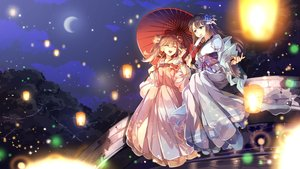 Rating: Safe Score: 67 Tags: 2girls black_hair blue_eyes brown_hair clouds dress fan japanese_clothes kimono long_hair moon night sky tagme_(artist) tricolour_lovestory twintails umbrella water User: BattlequeenYume