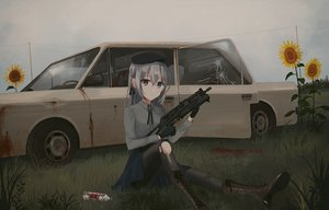 Rating: Safe Score: 95 Tags: bicolored_eyes blood boots car chihuri405 drink flowers gloves grass gun hat original pantyhose sunflower torn_clothes weapon User: Kiho