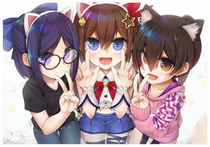 Rating: Safe Score: 40 Tags: animal_ears blue_hair bow brown_eyes brown_hair glasses headband hololive loli purple_eyes ribbons roboco-san short_hair signed skirt tanyatonya thighhighs tokino_sora watermark yuujin_a User: RyuZU