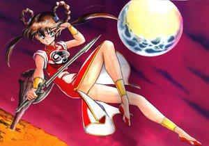 Rating: Safe Score: 11 Tags: brown_hair devil_hunter_yohko green_eyes long_hair mano_yohko moon sword weapon User: 秀悟