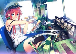 Rating: Safe Score: 59 Tags: aqua_eyes gloves hat long_hair original red_hair shoken_narai skirt train waifu2x User: RyuZU