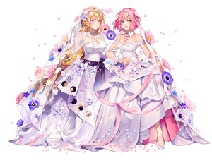 Rating: Safe Score: 60 Tags: 2girls aliasing arato_hisako blonde_hair blush breasts cleavage elbow_gloves flowers gloves heikong long_hair nakiri_erina petals pink_hair purple_eyes red_eyes ribbons rose see_through shokugeki_no_souma short_hair shoujo_ai tie wedding wedding_attire white wristwear User: otaku_emmy