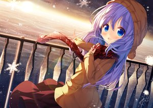 Rating: Safe Score: 80 Tags: blue_eyes blue_hair blush chinomaron clouds gochuumon_wa_usagi_desu_ka? hat kafuu_chino long_hair scarf signed sky snow sunset water User: RyuZU