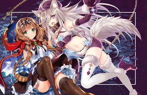 Rating: Safe Score: 91 Tags: 2girls animal_ears big_bad_wolf blush bondage braids brown_hair cape chain collar elbow_gloves gloves gray_hair green_eyes hat headband hoodie jpeg_artifacts little_red_riding_hood long_hair murakami_yuichi navel original purple_eyes red_riding_hood shorts skirt tail thighhighs twintails wolfgirl User: BattlequeenYume
