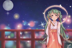 Rating: Safe Score: 41 Tags: flute green_hair hatsune_miku instrument japanese_clothes josu-san long_hair moon twintails vocaloid User: Flandre93
