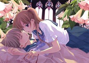 Rating: Safe Score: 43 Tags: 2girls bed flowers glasses hibiki_reine ponytail purple_eyes school_uniform shoujo_ai sleeping User: the_buzzsaw