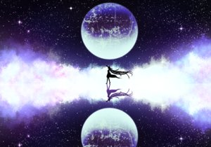 Rating: Safe Score: 48 Tags: long_hair moon night original reflection silhouette stars sugi_214 User: RyuZU
