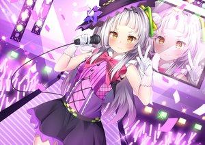 Rating: Safe Score: 40 Tags: blush bow gloves gray_hair hat hololive long_hair microphone murasaki_shion nari_(narikashi) skirt witch_hat yellow_eyes User: otaku_emmy