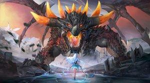 Rating: Safe Score: 40 Tags: aqua_hair dragon horns long_hair original polskash sword water weapon wings User: RyuZU