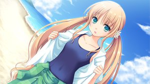 Rating: Safe Score: 81 Tags: astraythem beach blonde_hair clouds game_cg ginta sakurazuka_natsuki sky twintails water User: Maboroshi