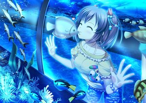 Rating: Safe Score: 81 Tags: 33paradox animal bubbles fish heart kiss original polychromatic shorts twintails underwater water wristwear User: humanpinka