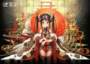 Rating: Safe Score: 69 Tags: animal_ears black_hair blush bodysuit cowgirl horns japanese_clothes katana long_hair okuma_mai original pantyhose red_eyes skull sword twintails umbrella weapon User: BattlequeenYume