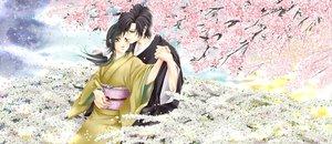 Rating: Safe Score: 32 Tags: black_hair brown_eyes cherry_blossoms flowers hakuouki_shinsengumi_kitan japanese_clothes kimono male petals saitou_hajime yukimura_chizuru User: HawthorneKitty