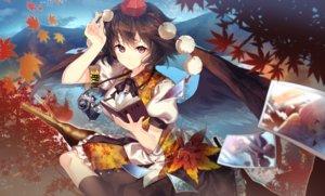 Rating: Safe Score: 115 Tags: aliasing autumn book brown_hair camera hakurei_reimu hat inubashiri_momiji kirisame_marisa kneehighs leaves red_eyes shameimaru_aya short_hair touhou uu_uu_zan wings User: luckyluna
