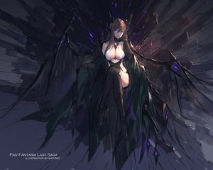 Rating: Safe Score: 153 Tags: breasts brown_hair cleavage gloves horns long_hair original pixiv_fantasia purple_eyes swd3e2 thighhighs watermark wings User: RyuZU