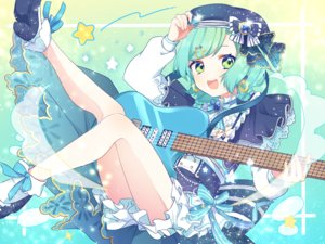 Rating: Safe Score: 51 Tags: bang_dream! bow dress green_eyes green_hair guitar hat hikawa_hina hinakano_h instrument lolita_fashion ribbons short_hair socks User: otaku_emmy