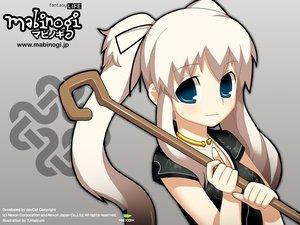 Rating: Safe Score: 16 Tags: blue_eyes choker long_hair mabinogi nao staff twintails white_hair User: Oyashiro-sama