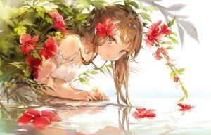 Rating: Safe Score: 116 Tags: anmi brown_hair cropped flowers long_hair original pink_eyes ponytail reflection scan water User: BattlequeenYume