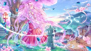 Rating: Safe Score: 74 Tags: aqua_eyes building butterfly cherry_blossoms clouds drums flowers grass hatsune_miku instrument japanese_clothes long_hair miko pink_hair sakura_miku sky stairs tree twintails utsunomiya vocaloid User: luckyluna